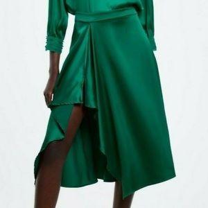 Zara Ruffled Satin Effect Skirt